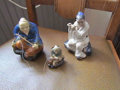 3  CHINESE Clay Pottery Glazed Mud Man- 2 FISHERMAN Figurines 1 with flute