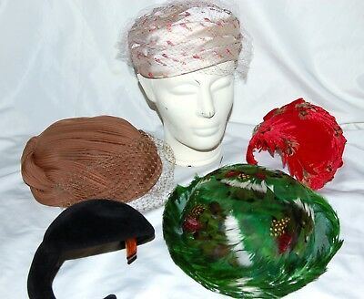 Lot Of 5 Vintage Hats For Women Feather Valerie Modes Union Made J.l. Hudson