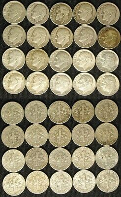 20 Piece Lot Silver Roosevelt Dimes, all Phillys 1946-64 & a '64D: $9.99 & Go!