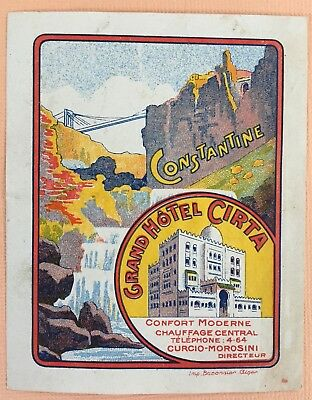 Rare Luggage Label Grand Hotel Cirta, Constantine - Algeria
