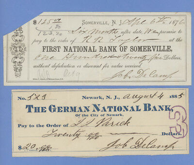 1885 German National Bank & 1876 First National Bank of Somerville Checks
