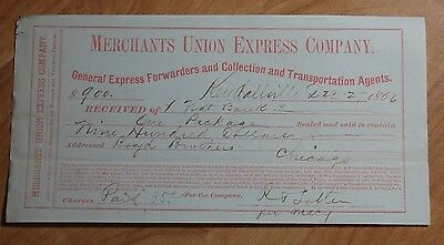 1866 Merchants Union Express Company Document Receipt Used For Money Transfering