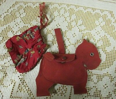 Vintage 1960s Child Scotty Dog Coin Purse & Hand Sewn Snow White Fabric Bag