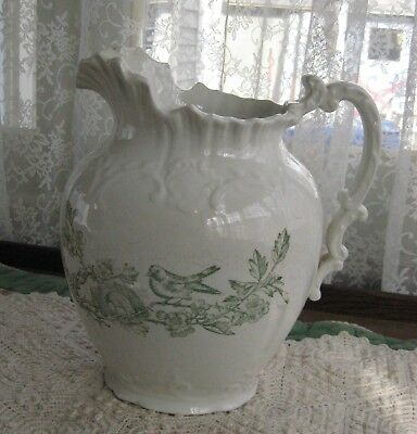 Sweet Antique Large White Ironstone Pitcher, Shabby French Style