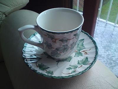 Pottery BHS Country Vine Cup & Saucer , VGC, FREE-MAILING.