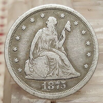1875-S 20C Silver Seated Liberty Twenty Cent Coin Early US Type Attractive