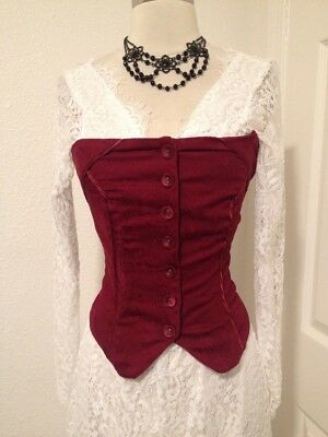 Women's Vintage Red Brocade Retro Victorian Corset With Buttons, Size S