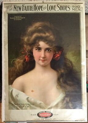 Original Antique Vintage Hamilton Brown Shoe Poster