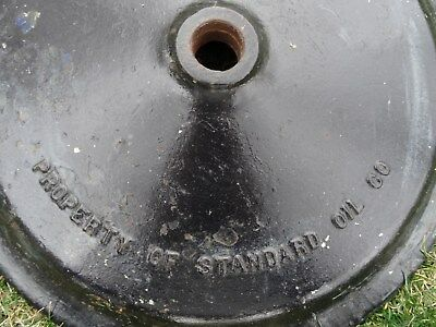 Original Vtg Standard Oil Keyhole Lollipop Cast Iron Porcelain Sign Base 22 Inch