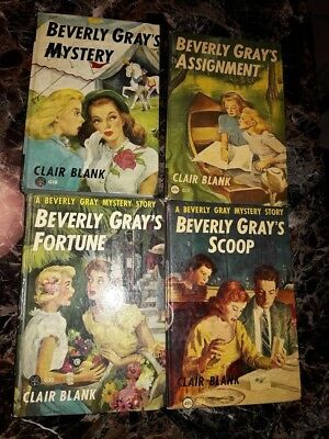 Lot of 4 Vintage Beverly Gray Mystery Books 1950s Clover Books