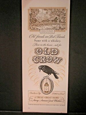 Vintage 1941 Old Crow Whiskey Ad...Old Friends Are Best Friends.