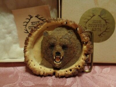 High Country Arts Carved Shed Antler Bear Belt Buckle J.k.ruberson 1989