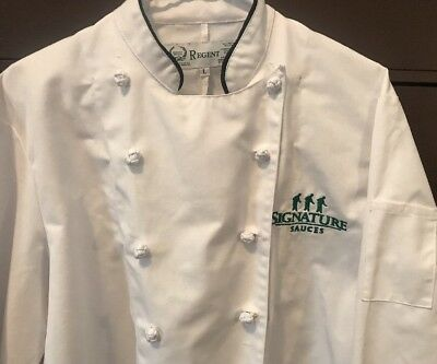 Regent EUROPEAN WHITE KNOT BUTTONS CHEF COAT Sz M -Unisex with Logo