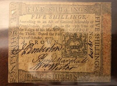 Continental currency five shillings Pennsylvania 1773