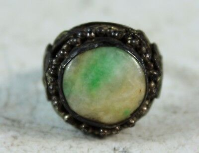 Vintage Chinese Hand Made Silver With Jadeite Face Ring