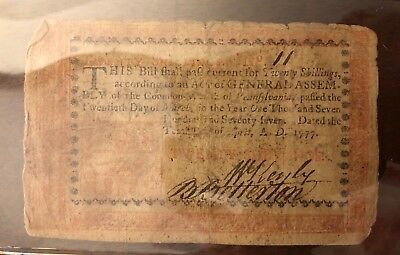 Continental currency 20 shillings April 20, 1777 Pennsylvania