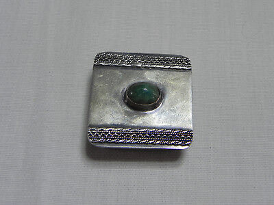 Sterling Silver Pill Box with Jade? Stone Approx. 1 x 1 in. Made in Israel