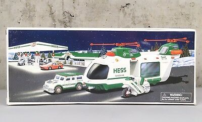 Vintage 1999 HESS Gasoline Helicopter Car Motorcycle Origional Box