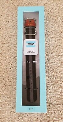 TOMS for Apple Watch 42mm Band Give Time Black/Gray Stripe Brand New in Box
