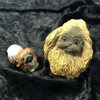Pair of cute Pekingese dog figurines Stone Critter & tiny hand painted statue