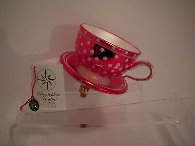 """Radko~""""cuppa Cheer Christmas Cup""""~Exclusive Design~Red Hat Society~Rare & Htf"""