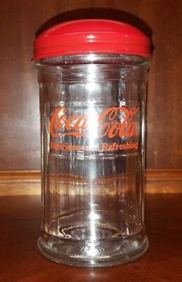 1992 Coca Cola Red Top Sugar Dispenser Shaker Jar Restaurant Diner Cafe Style