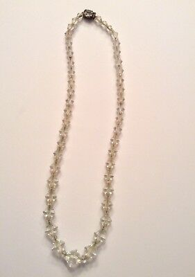 Vintage Sterling Silver Clasp Clear Crystal Glass Bead Necklace Faceted Art Deco