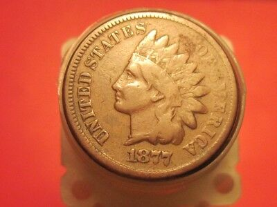 Mixed Small Cent Roll 1877 Indian Head Cent & '09 Wheat-Back-Cent