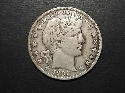 1902 Barber Silver Half Dollar F-VF Fine to Very Fine Great Looking Coin