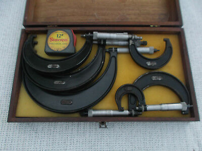 "Vintage  Set   Starrett  0-6""  Micrometer  Set  #436  With  S & W  Wooden  Box"