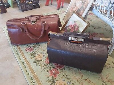 Pair Of Vintage Leather Croc Embossed Doctors Bags