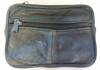 Small Leather Zippered Pouch / Bag ATTACHES TO BELT / phone case / man purse