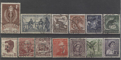 TASMANIA  1940s/50s: selection of 13 different T perfins - includes scarcer