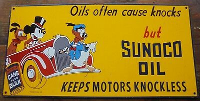 Big Ol' Sunoco Motor Oil Disney porcelain sign Disney Donald Duck Mickey Mouse