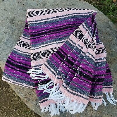 Mexican Blanket Festival Falsa Large PREMIUM QUALITY Serape - Purpleberry Rose