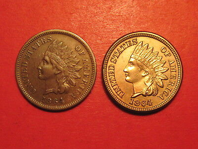 1864-L Indian Head Cent & 1864 Copper Nickel Indian Head Cent ~ Better Dates