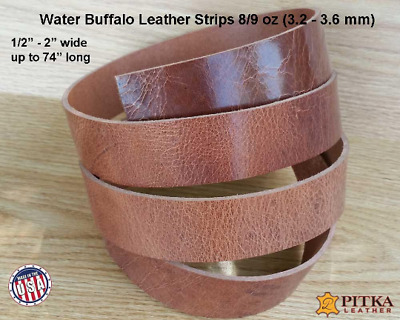 Water Buffalo Leather Strips Antique Brown, 8-9 oz, up to 72 in - Craft, Belts