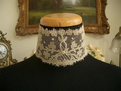 HAND MADE Antique VTG EDWARDIAN IRISH CARRICKMACROSS LACE CHOKER COLLAR DRESS FT