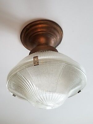 Antique VTG Industrial HOLOPHANE 2-Pc. Glass Shade Schoolhouse Ceiling Fixture