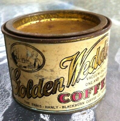 Antique Tiny Pry Top Golden Wedding Sample  Coffee Tin Can Kansas City Missouri