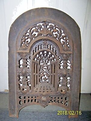 Ornate Victorian Cast Iron Fireplace Summer Cover - 1850's -T. Bent & Son  N.y