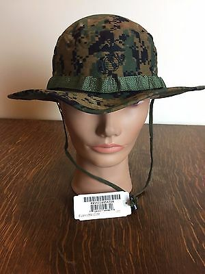 NEW US Military Issue USMC Marine MARPAT Woodland Camo Boonie Field Cover Hat M