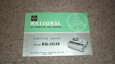 OLD 1970s NATIONAL RADIO ALL TRANSISTOR TAPE RECORDER OPERATING MANUAL RQ 503S