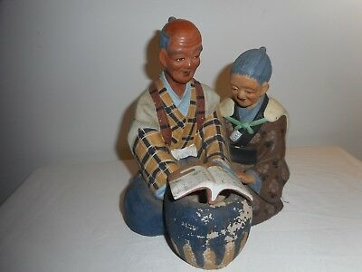 Vintage Chinese Pottery Old Couple Reading Book - Wonderful & Rare Collectible!