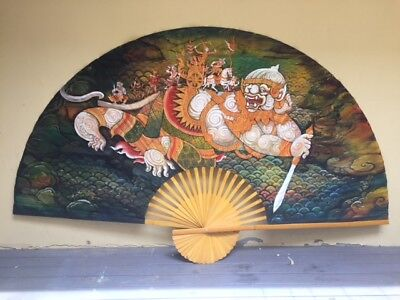 Hand Painted Wall Hanging Fan with Asian Dragon on Hand Made Paper