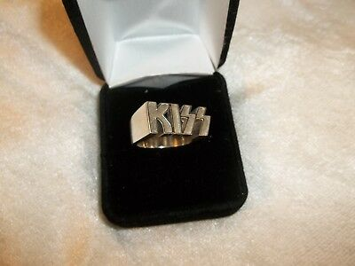 Rare Vintage Kiss Solid Silver Logo Ring Jewelry W/ Box Casablanca Records