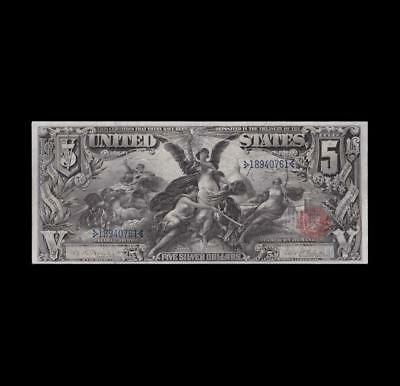 "1896 $5 Silver Certificate ""education"" Apparent Very Fine"
