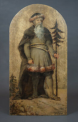 1830 Holland Dutch Art Icon Oil Painting Wooden Board Santa Claus St.Nicholas