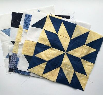 """Lot Quilt Blocks Handmade 9 Total in Blues and Yellows 12"""" Squares/Blocks"""