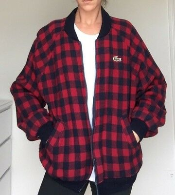 Amazing LACOSTE Vintage 80'S lined WOOL bomber Jacket - Size S/M